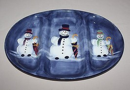 3 Section Tray Snowman Tabletops Unlimited Divided Blue Platter Winter C... - $19.75