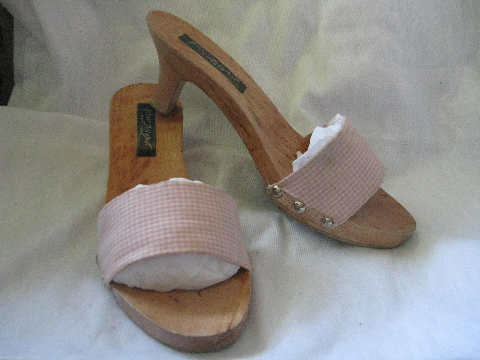 Betsey Johnson gingham wooden mules platform wedge sandals shoes VLV 6UK3.5 36 - $18.49