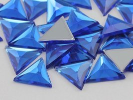 5mm Sapphire A09 Flat Back Acrylic Triangle Jewels High Quality Pro Grade - $5.16