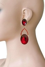 "3"" Long Clip On Earrings, Red Glass Crystals Drag Queen, Pageant, Bridal... - $18.95"