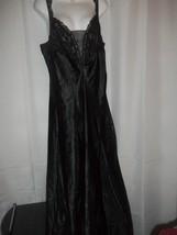 Ladies Size L Victoria's Secret Black LaceTop NightGown Gown Front Leg S... - $29.69