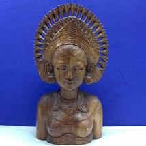 Carved wood statue sculpture nude naked princess mayan aztec queen bust ... - $74.25