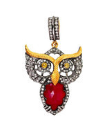 925 Sterling Silver Owl Animal Charm, 14K Gold Animal Charm Diamond Owl ... - $790.00
