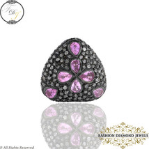 Fusion Beads Finding Diamond Jewelry,Pink Sapphire Silver Bead Findings,... - $475.00