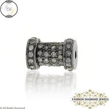 Spacer Bead Finding, Natural Diamond Studded Silver Designer Bracelet Ne... - $208.00