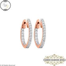 14K Rose Gold Earrings, Diamond Hoop Earrings Jewelry, Handmade Diamond ... - $265.00