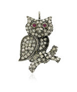 Owl Charm Pendant Jewelry, 925 Silver Pave Diam... - $133.00
