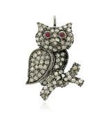 Owl Charm Pendant Jewelry, 925 Silver Pave Diamond Designer Owl, Pendant... - $133.00