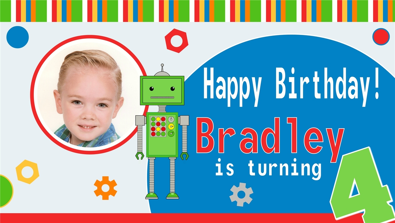 Robot Custom -Personalized- Vinyl Birthday Banner Decoration w/ Photo