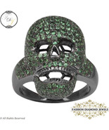 Gemstone Skull Ring, Tsavorite Gemstone Ring Jewelry, 925 Sterling Silve... - $289.00