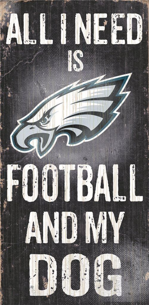 "PHILADELPHIA EAGLES FOOTBALL & my DOG WOOD SIGN and ROPE 12"" X 6""  NFL MAN CAVE!"