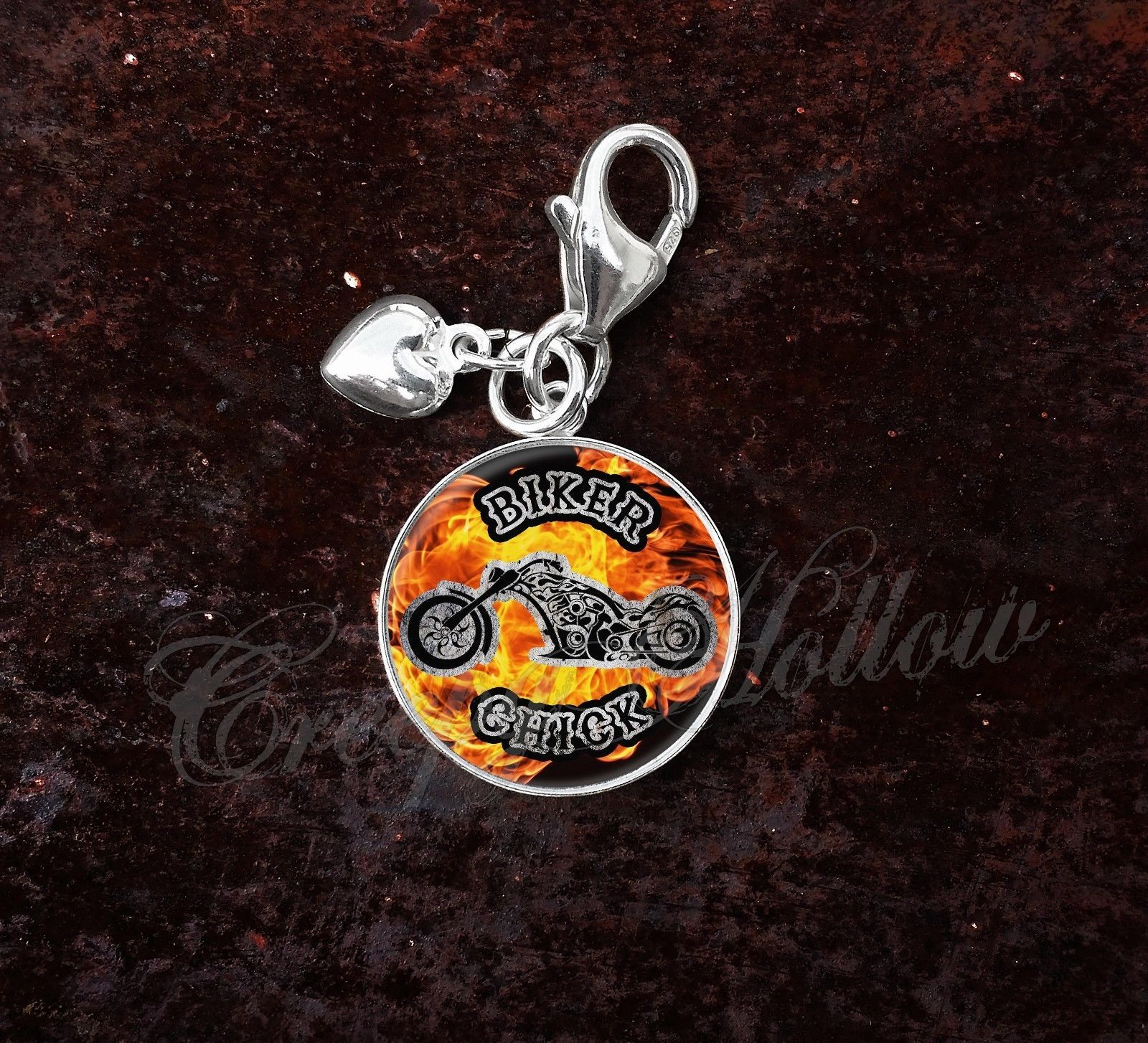 Primary image for 925 Sterling Silver Charm Motorcycle Biker Chick Motorbike Rider