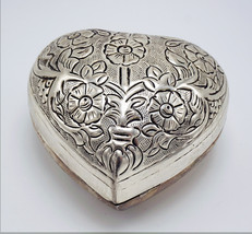 Vintage Silver Plated Heart Shape Box - $63.50