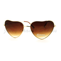 Heart Shape Sunglasses Thin Metal Frame Popular Love Shades - $6.88+