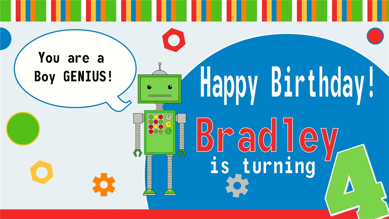 Robot Custom -Personalized- Vinyl Birthday Banner Decoration