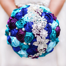 Hand Made Peacock Color Satin Rose Bride 's wedding Brooch bouquets decor  - $81.00