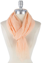 Peach Lightweight Shimmer Scarf, Super Soft Layering Scarf, Summer Sequin Scarf