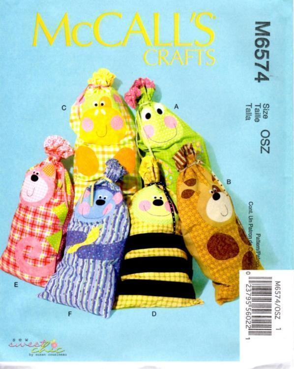 McCall's 6574 Kids' Drawstring Sack Bags w/ Animal Appliques Pattern