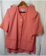HENRY LEE USA Women's 2 PC Summer Suit Jacket Skirt Peach Button Lined S... - $27.98