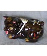 Floral painted piggy bank, rhinestone eyes - $4.99