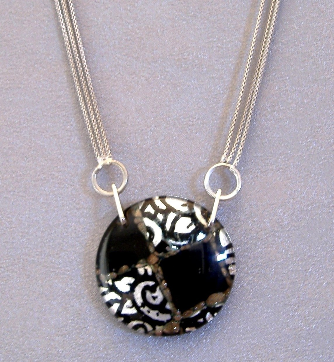 Venetian Medallion Pendant Sterling Silver Chain Unique Necklace Black