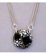Venetian Medallion Pendant Sterling Silver Chain Unique Necklace Black - $427.48 CAD