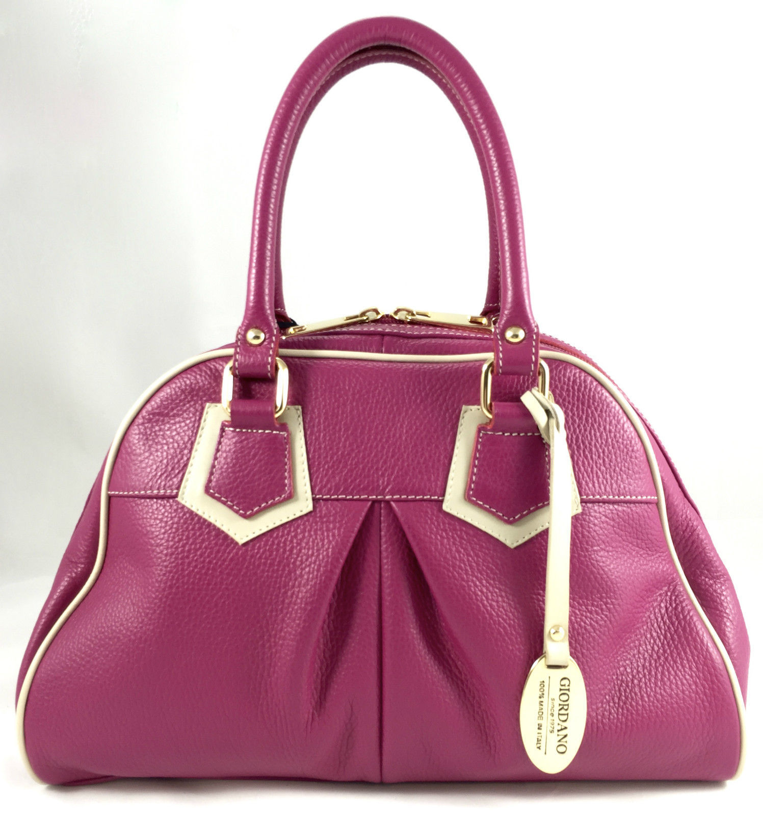 GIORDANO Italian Made Pink Pebbled Italian Leather Satchel in Fuscia Pink Cream