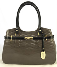 NWT Giordano Italian Made Taupe & Black Patent Leather Embossed Satchel ... - $179.95