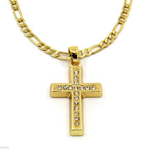 Cross Piece Charm Micro Pendant Figaro Chain Necklace Jewelry Gold Plate... - $12.77