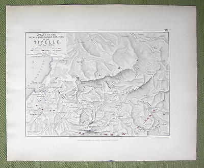 SPAIN France Nivelle Rever Region & Napoleon Battle 1813- 1848 Fine Quality Map