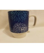 Starbucks Blue Pom Floral Flower 12oz Stackable Coffee Mug 2016 - $14.84