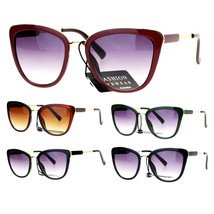 SA106 Diva Oversize Cat Eye Metal Brow Trim Sunglasses - $12.95