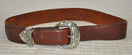 VGUC Women's BRIGHTON brown leather belt 1993 leegin flower design buckle - $34.95