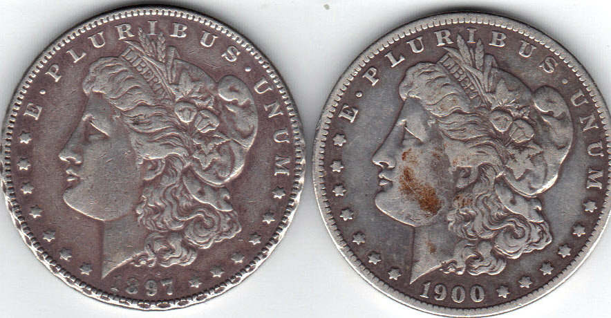 Primary image for Nice 1897P and 1900O Morgan Dollars