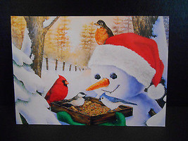 Snowman Tree-Free Greetings Christmas Cards w/Printed Envelopes Birds Lo... - $9.89