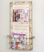 Chic Shabby Distressed Whitewash  Wall Shutter Magazine Rack,18''L x 31.... - $146.52