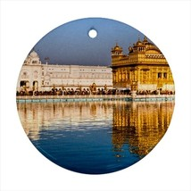 Golden Temple Amritsar India Round Porcelain Ornament - Holiday Seasons - $7.71