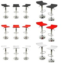 Set  2  Faux Leather Bar Stools Swivel Dinning Counter Adjustable Height... - £53.21 GBP
