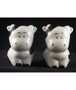 Vintage Ceramic Black and White Cows Salt & Pepper Shakers - $12.99