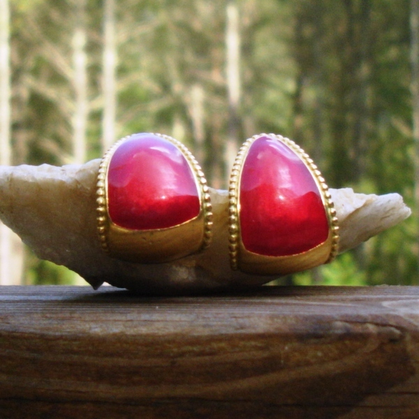 Vintage Trifari Bold Red Enameled Post Half Hoop Earrings