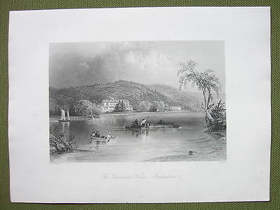CANADA Governor's House at Fredericton - 1841 Engraving Print by BARTLETT