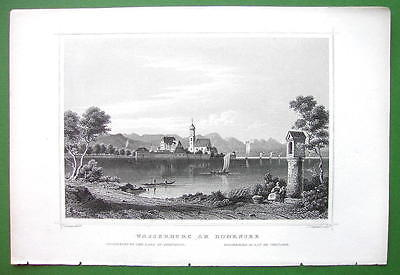 GERMANY Wasserburg on Lake Constance Bodensee - 1853 Antique Print Engraving