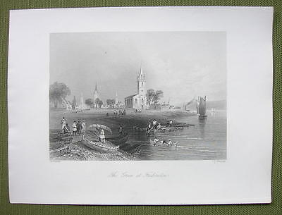 CANADA Green at Fredericton - 1841 Engraving Print by BARTLETT