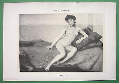 NUDE Young Woman on Bed - VICTORIAN Lichtdruck Antique Print