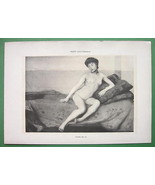 NUDE Young Woman on Bed - VICTORIAN Lichtdruck ... - $7.92