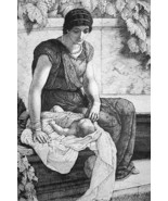 ORIGINAL ETCHING - Young Roman Mother First Born Baby - $23.76