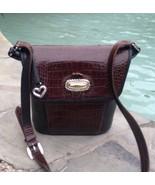 Brighton Bucket Shoulder Bag Black Pebble Grain & Brown Croc Leather Pur... - $37.97