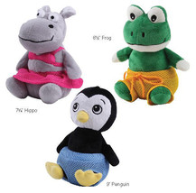 Grriggles Bathing Beauties Dog Toy Squeaker Plush Squeaky Toys Frog Penguin Hipp - $10.75