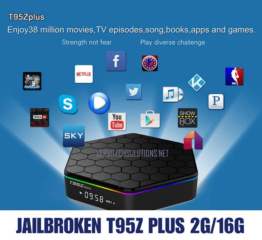 Used, Android TV Box 2018 Jailbroken T95z Plus Octacore 2G/16G Unlocked Apps Kodi 17.6 for sale  USA