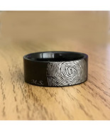 Personalized Unisex Thick Tungsten Fingerprint Ring Initials Engraved 8mm - $87.99